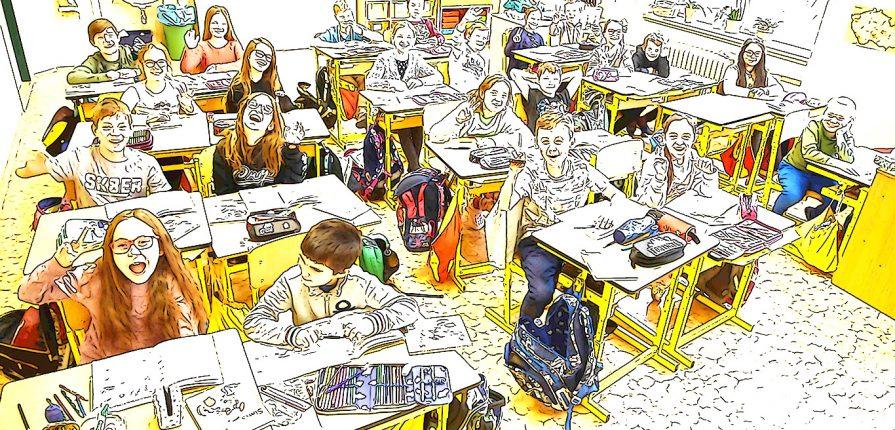 Fotka třídy v lavicích